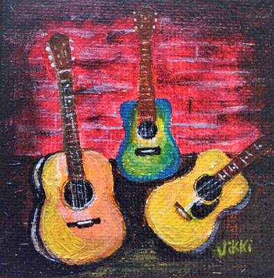 Painting - Guitars In Miniature by Vikki Angel