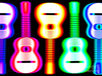 Green Drawing - Guitars On Fire 3 by Andy Smy