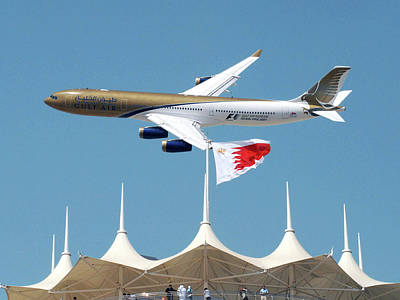 Gulf Air A340 Print by Graham Taylor