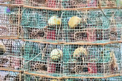 Blue And Red Digital Art - Gulf Coast Crab Traps by JC Findley