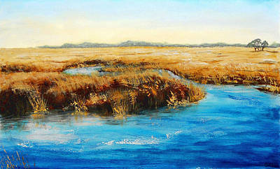 Painting - Gulf Coast Marsh I Original Fine Art Painting by G Linsenmayer