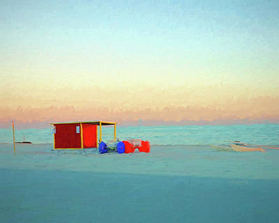 Photograph - Gulf Coast Red Beach Hut Sunset Saiboat by Rebecca Korpita