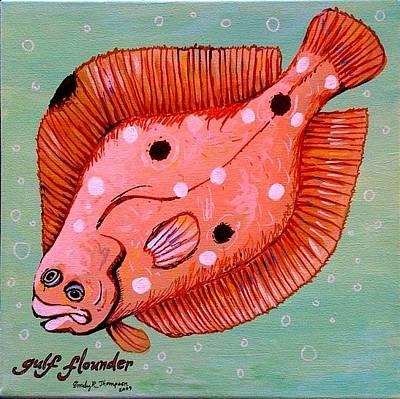 Flounder Painting - Gulf Flounder by Emily Reynolds Thompson