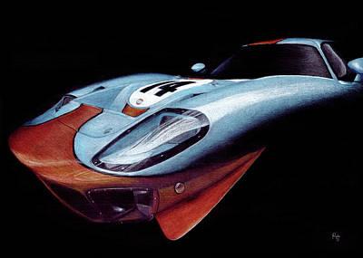 Racecar Drawing - Gulf Gt40 by Norbert Gold