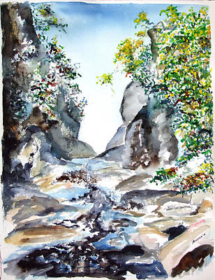 Painting - Gulf Hagas Waterfall by Jan Anderson