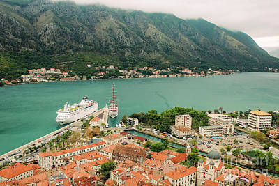Gulf Of Kotor With Cruise Liner Art Print