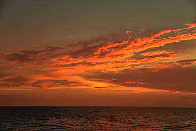 Gulf Of Mexico Sunset Print by Theresa Campbell