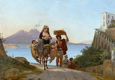 Painting - Gulf Of Naples With Fruit Merchant by Franz Ludwig Catel