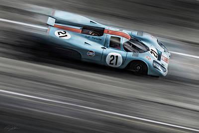 Racetrack Digital Art - Gulf Porsche 21 by Peter Chilelli