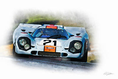 1970 Digital Art - Gulf Porsche by Peter Chilelli