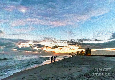 Photograph - Gulf Shores Beach Sunset Seascape 0272a Digital Painting by Ricardos Creations