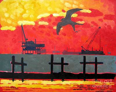 Oil Rig Painting - Gulf Swallow Tail Kite by Lesley Giles