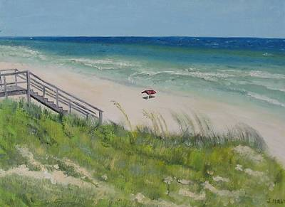 Gulf View From Dune Art Print by John Terry