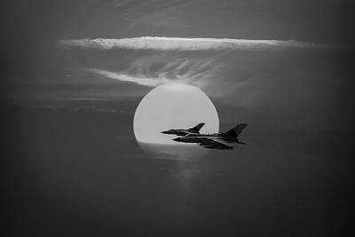 Photograph - Gulf War Sunset Departure Bw Version by Gary Eason