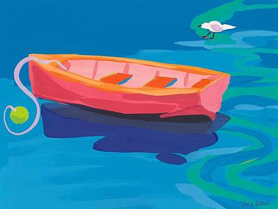 Vivid Colour Painting - Gull And Boat by Sarah Gillard