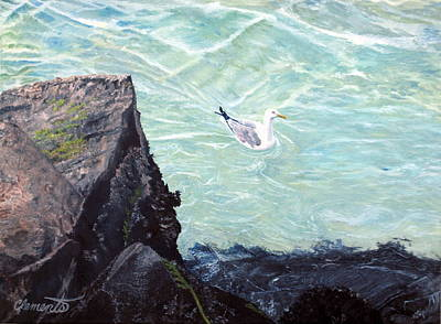 Painting - Gull In Shallows Of Barnegat Inlet by Barbara Barber