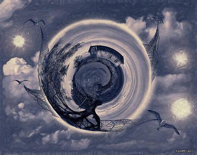 Digital Art - Gull World Movers  by Ken Morris