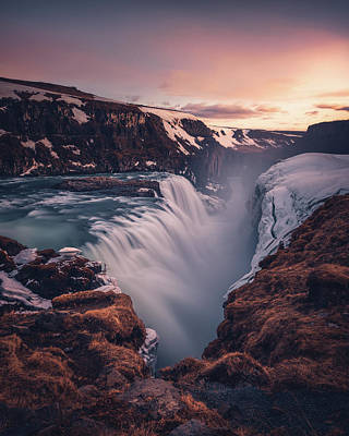 Gullfoss Sunset Art Print