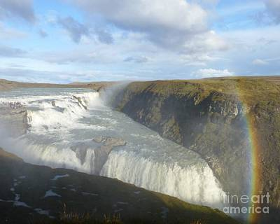 Photograph - Gullfoss With Rainbow by Barbie Corbett-Newmin