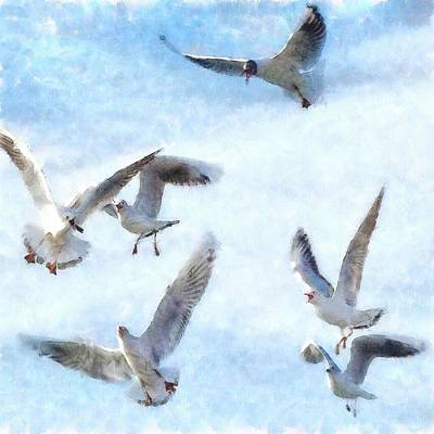 Painting - Gulls In Flight Watercolor by Taiche Acrylic Art