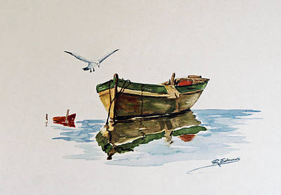 Water Scene Painting - Gull's Skiff by Raymond Edmonds