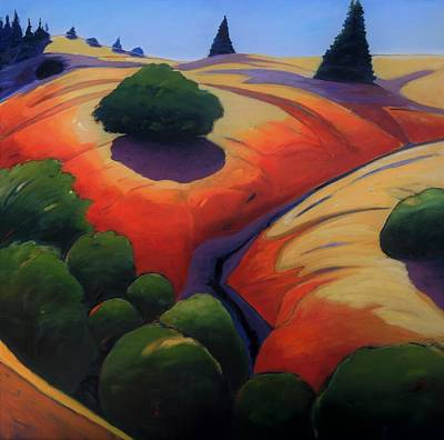 Redwoods Painting - Gully by Gary Coleman