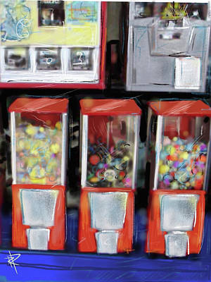 Digital Art - Gum Ball Machines by Russell Pierce