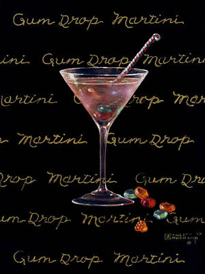 Stemware Painting - Gum Drop Martini by Janet  Kruskamp