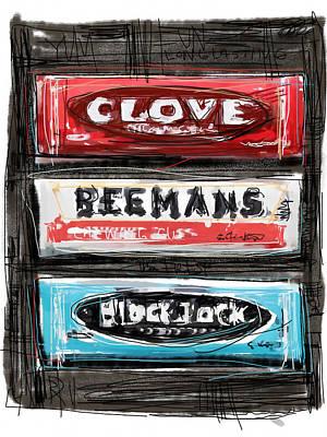 Licorice Digital Art - Gum Trio by Russell Pierce