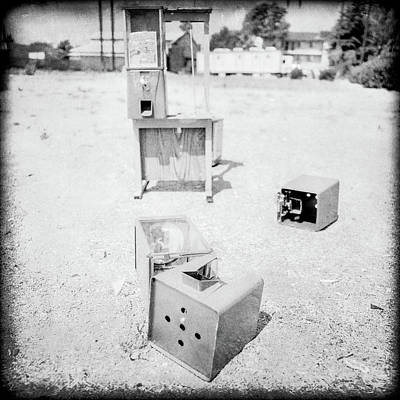 Photograph - Gumball Machine Destruction In Bw by YoPedro