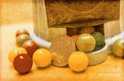 Gumballs Dispenser Antiques Print by Jorgo Photography - Wall Art Gallery