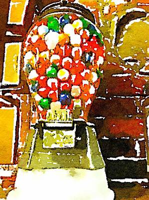 Candy Store Painting - Gumballs by Judy Bernier