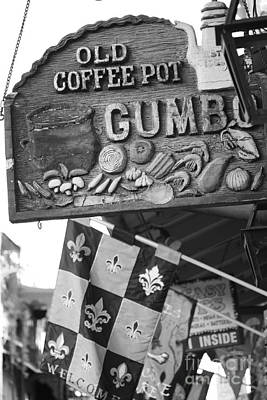 Photograph - Gumbo Sign - Black And White by Carol Groenen