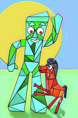 Digital Art - Gumby And Pokey Cubed by John Haldane