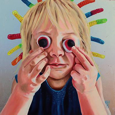 Painting - Gummy Eyes Gummy Worms by Kirsten Beitler