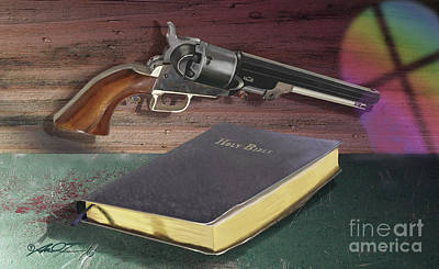 Digital Art - Gun And Bibles by Dale Turner
