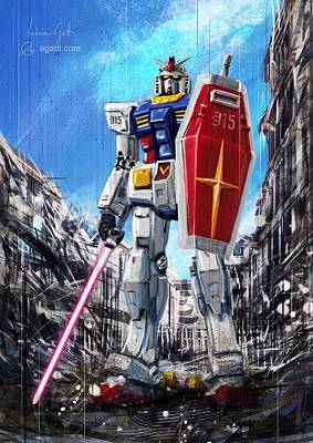 Science Fiction Royalty-Free and Rights-Managed Images - Gundam Lingotto Saber by Andrea Gatti