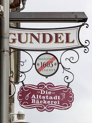 Photograph - Gundel Sign Heidelberg by Teresa Mucha