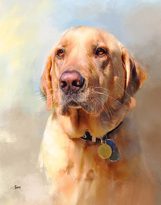 Labrador Digital Art - Gunner The Yellow Lab by Susie Myers