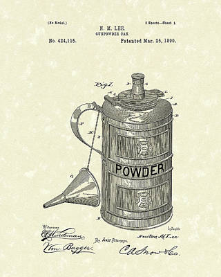 Gunpowder Can 1890 Patent Art  Art Print by Prior Art Design