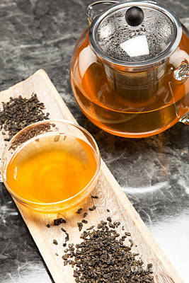 Gunpowder Green Tea In Glass Teapot Art Print