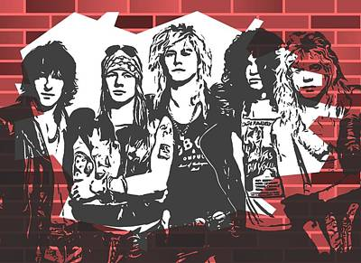 Icon Mixed Media - Guns N Roses Graffiti Tribute by Dan Sproul