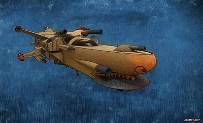 Digital Art - Gunship by Ken Morris