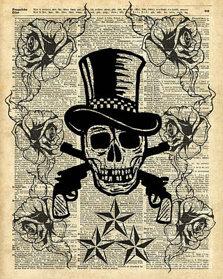 Stencil Art Painting - Gunslinger,happy Skull,guns'n Roses,rockstar Vintage Decoration Card,craft Supplies,dictionary Art, by Jacob Kuch
