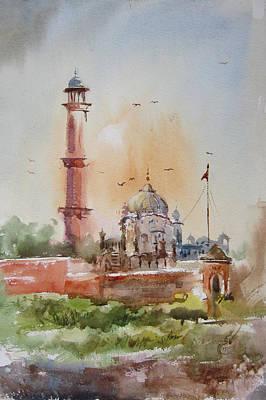 Nca Painting - Gurdwara Lahore by MKazmi Syed