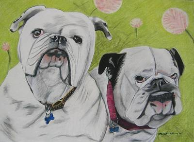 English Bulldog Drawing Pastel - Gus And Olive by Michelle Hayden-Marsan