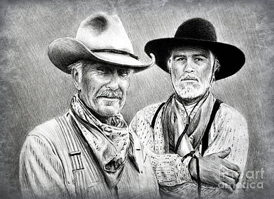 Drawing - Gus And Woodrow Edit 2 by Andrew Read