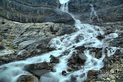 Gushing Bow Glacier Falls Landscape Art Print