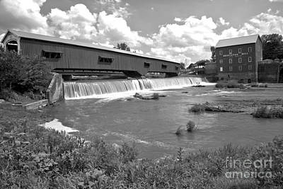 Photograph - Gushing Falls Under The Bridgeton Covered Bridge Black And White by Adam Jewell