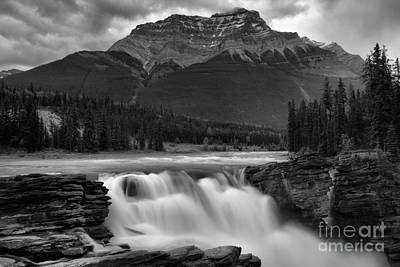 Photograph - Gushing Glacier Falls Black And White by Adam Jewell